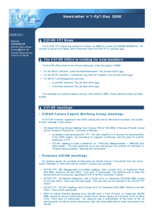 1st EUFAR FP7 Newsletter (December 2008)
