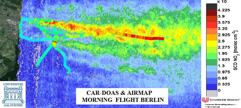 Preliminary mobile-DOAS and AirMAP measurement results of the morning flight, 21 April 2016