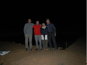 MASOMED field team by the dark calibration target, for the night overflight passes