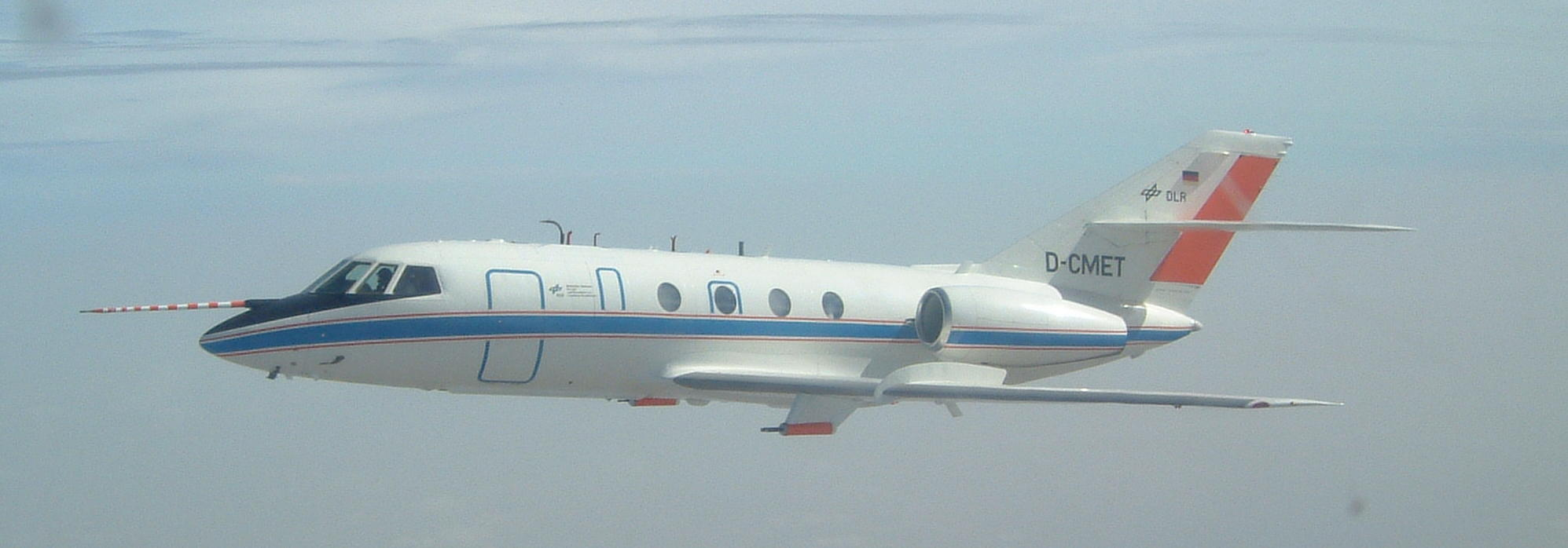 DLR Falcon aircraft as seen from the FAAM aircraft during a previous experiment (Photo credit: John Methven).