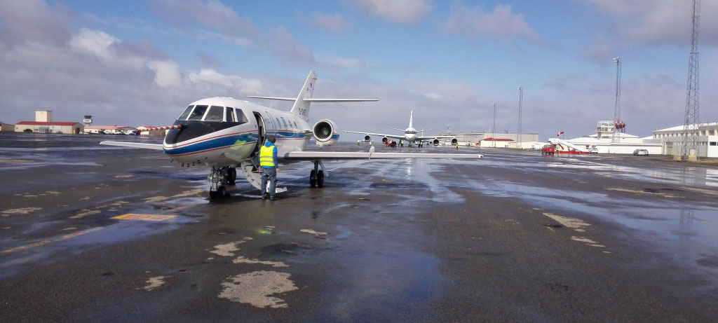 DLR's Falcon 20 at Keflavik airfield in Iceland during the ESA's WindVal campaign. Photo Credit - ESA.