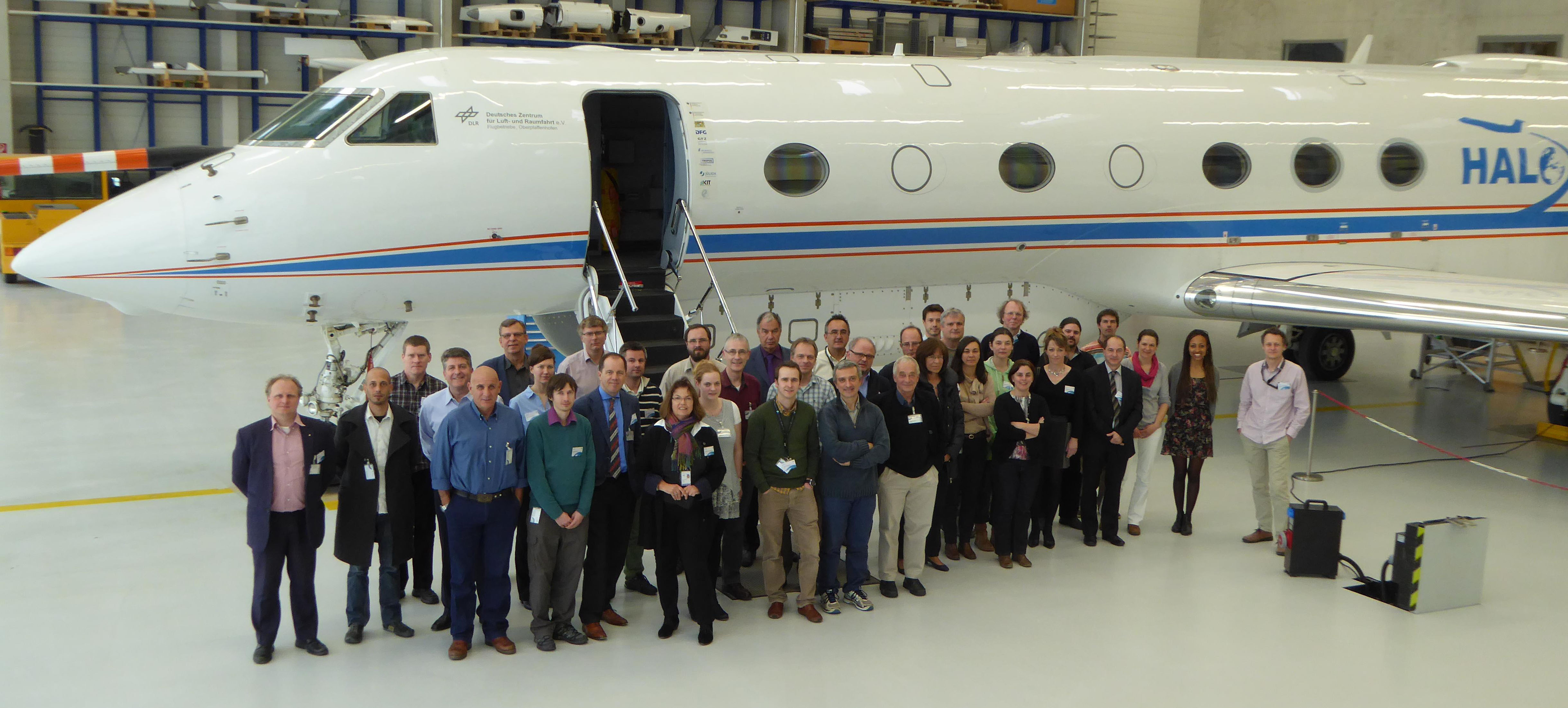 Group photo in front of DRL's HALO research aircraft during the 2nd EUFAR2 General Assembly meeting, at DLR, Oberpfaffenhofen (March 2015). Copyright EUFAR.
