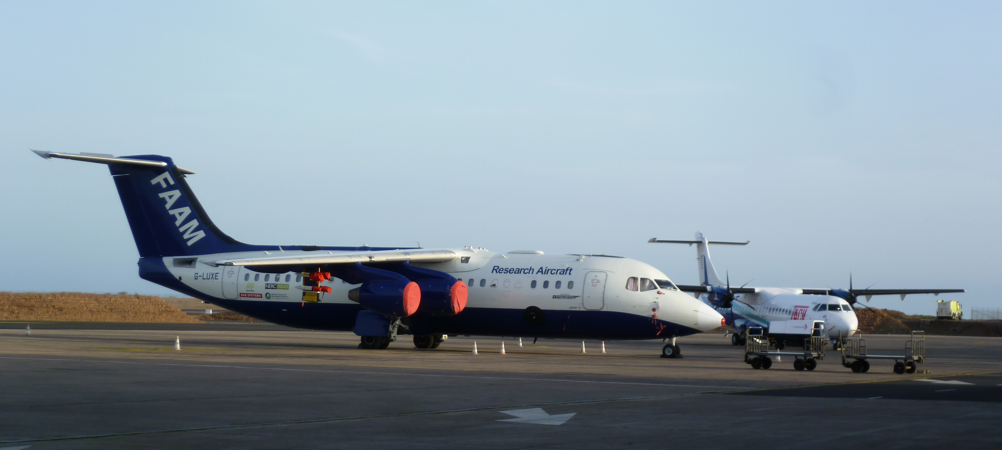 The FAAM BAe-146 aircraft parked at Praia airport (Cape Verde). Photo credit - Dr. Lindsay Bennet. SAVEX-D flight campaign.