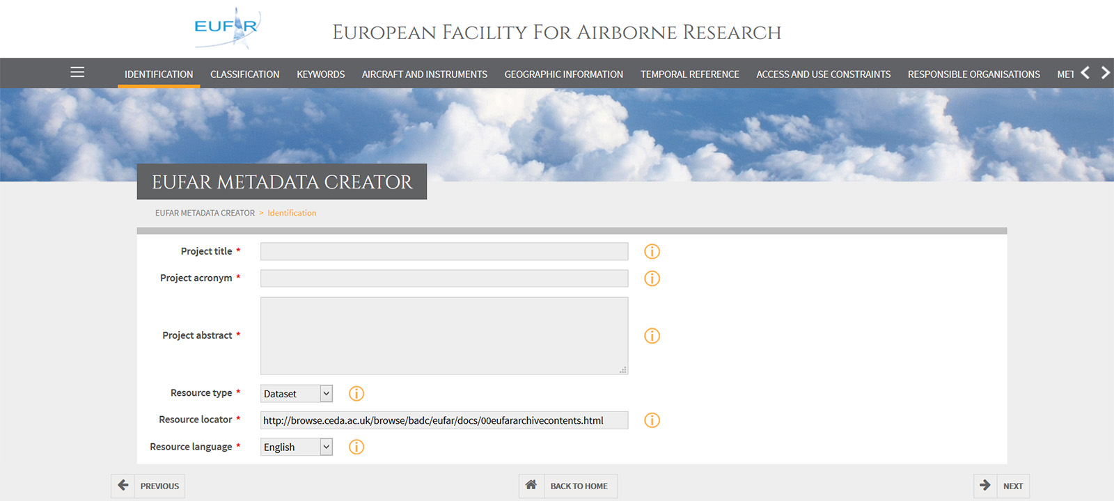 EUFAR tools to create INSPIRE metadata and flight reports