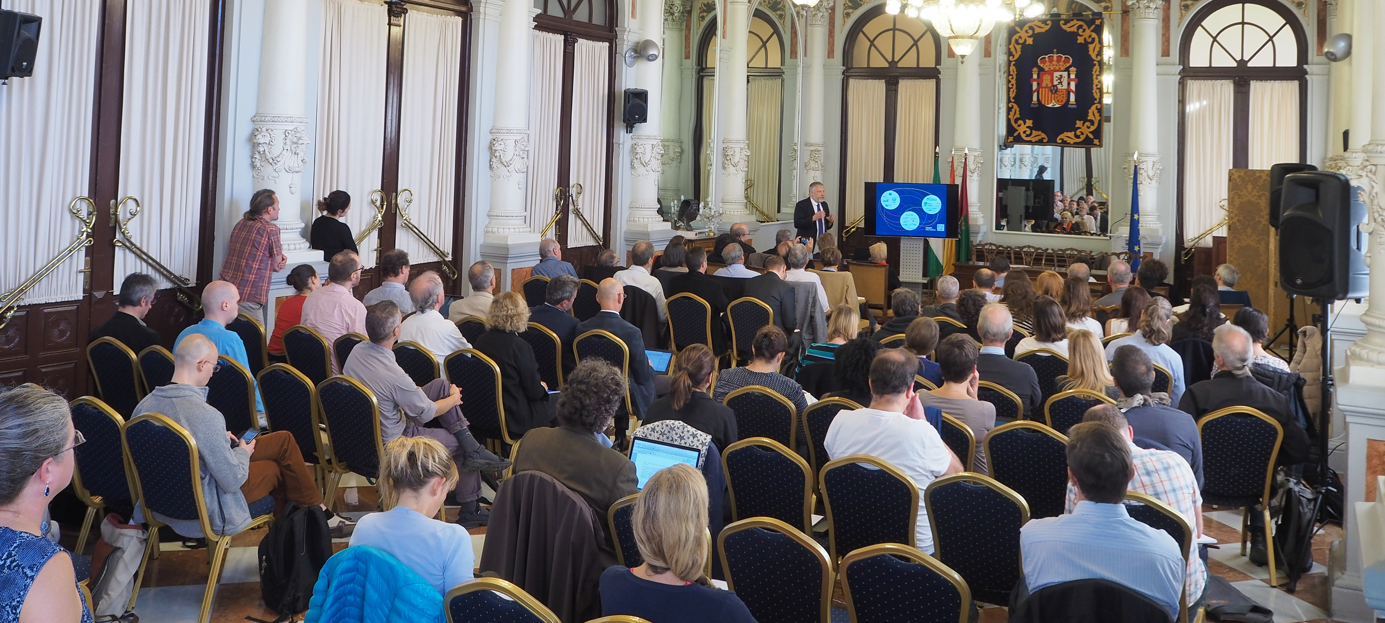 Joint workshop of ESFRI Environment Strategy Working Group and ENVRI community on the Landscape of Environmental Research Infrastructures in the beautiful city hall of Malaga. Photo credit: ENVRIplus.