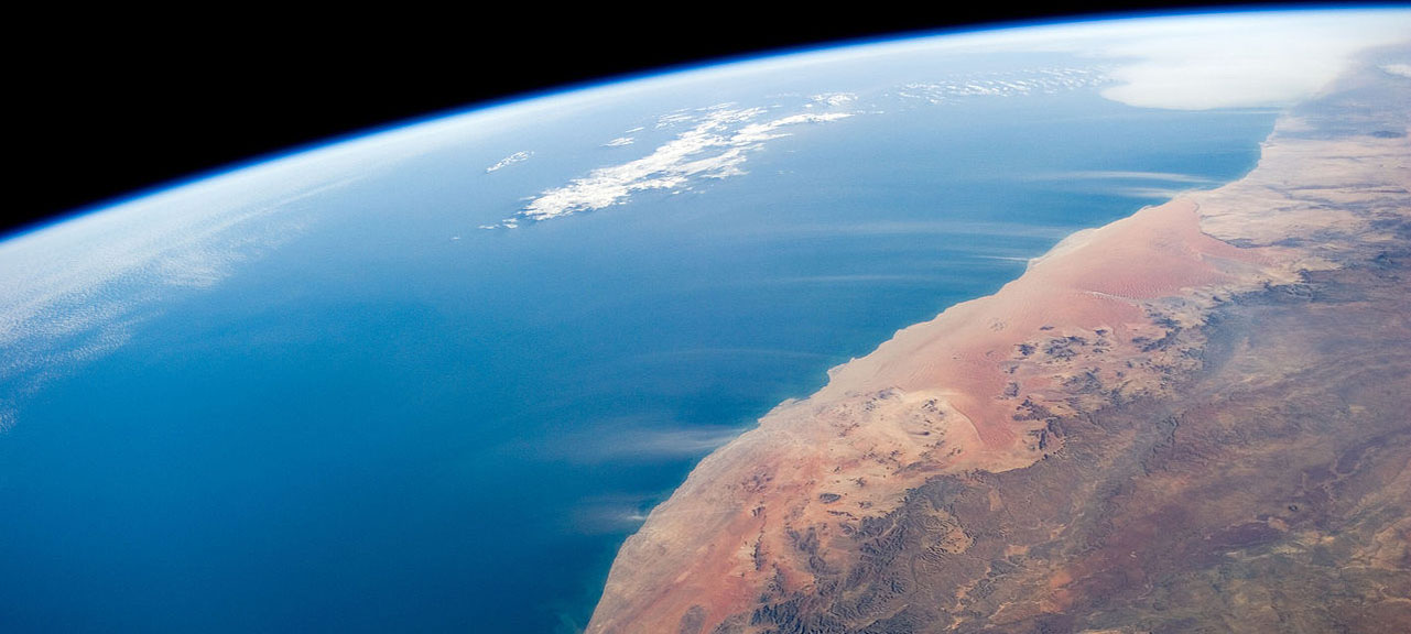 Image from space station of Namibia's desert coast